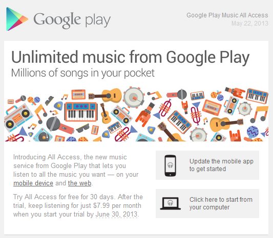 Google Play Music All Access screen capture